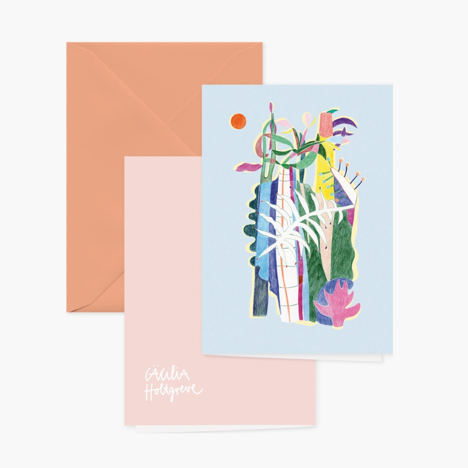 Grusskarte »Dschungel« mit rosanem Umschlag und Rückansicht von Cäcilia Holtgreve
