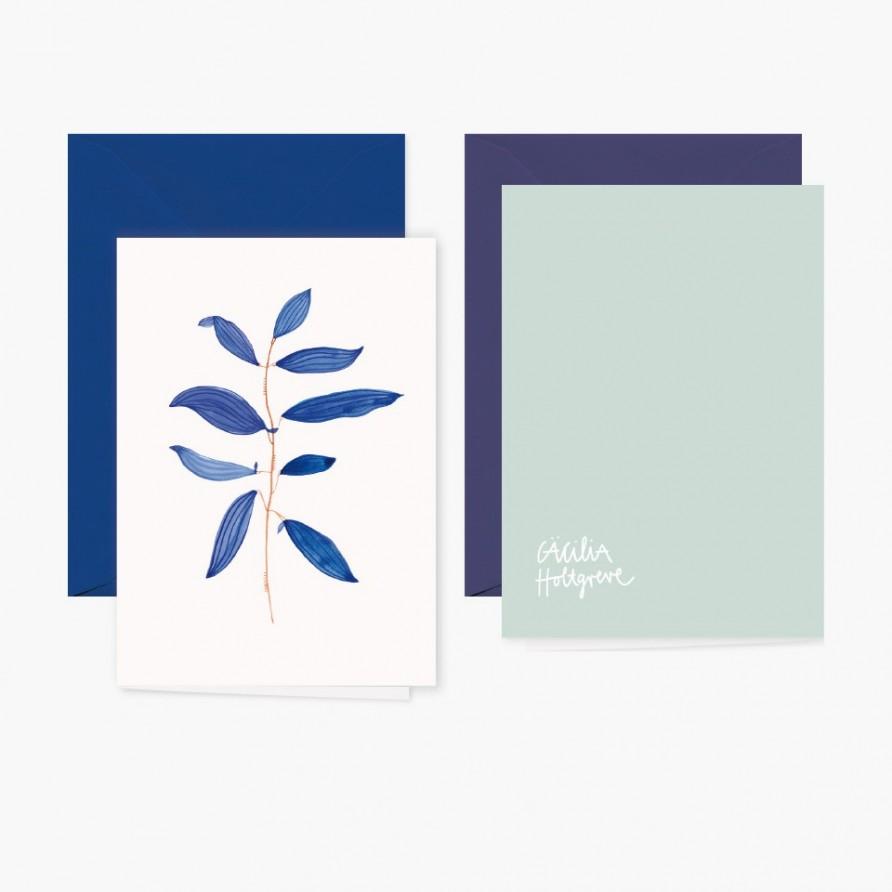 Grusskarte »Nachtblume« mit dunkelblauem Umschlag und Rückansicht von Cäcilia Holtgreve