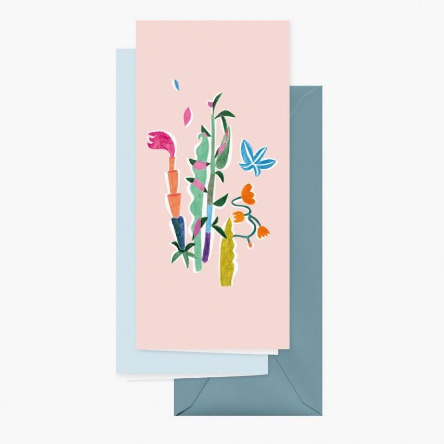Grusskarte »Tanz der Blumen« mit graublauem Umschlag und Rückansicht von Cäcilia Holtgreve
