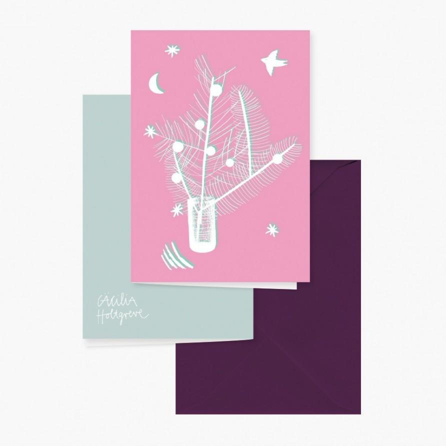 Grusskarte »Weihnachtsstrauss« mit dunkellilanem Umschlag und Rückansicht von Cäcilia Holtgreve