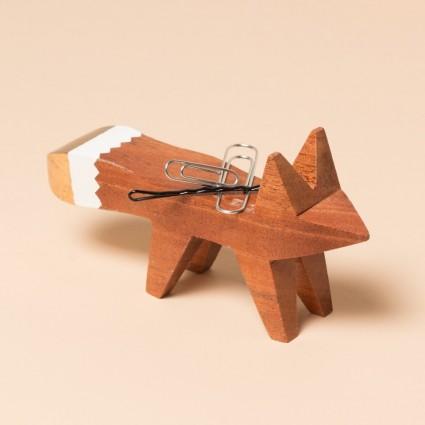 Magnetischer Fuchs in Mahagoni von vorn
