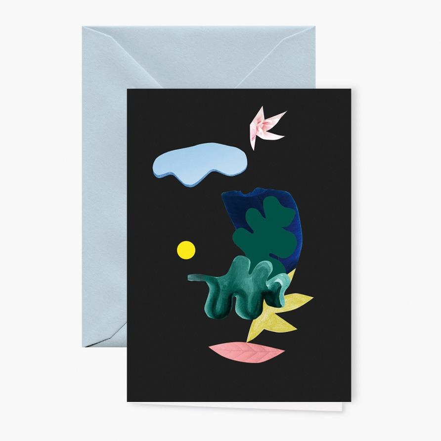 Grusskarte »Collage« mit hellblauem Umschlag von Cäcilia Holtgreve