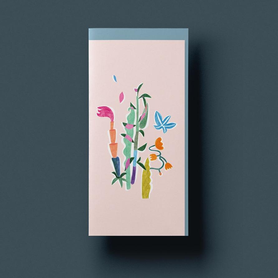 Grusskarte »Tanz der Blumen« mit graublauem Umschlag von Cäcilia Holtgreve
