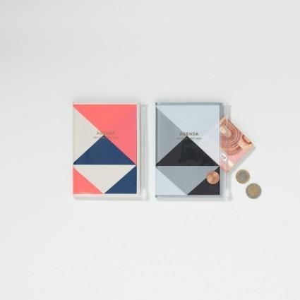 A6 Kalender mit Umschlagtasche geometrisch