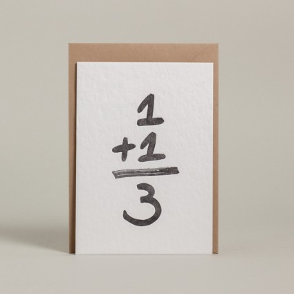 Grußkarte 1+1=3