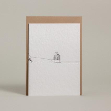 Grußkarte Schlitten