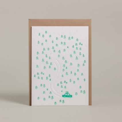Grußkarte Baum fällen