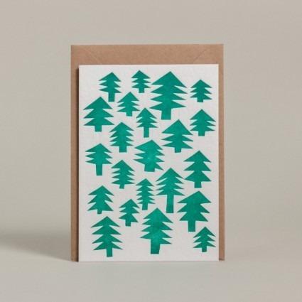 Grußkarte Weihnachtsbäume
