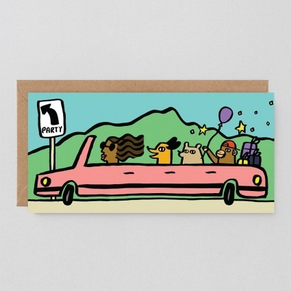 Grußkarte Partyauto