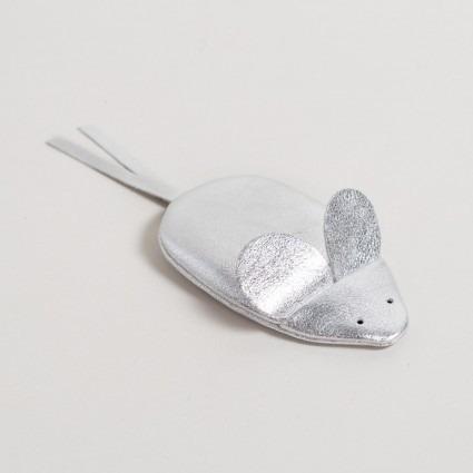 Geldbörse Maus silber aus Leder