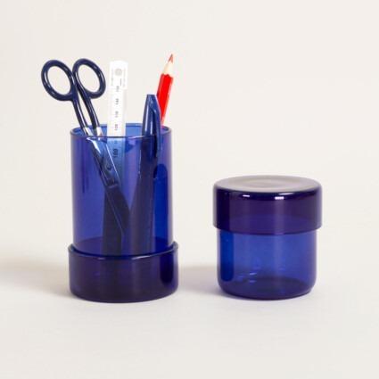 Glasdosen mit Deckel in blau