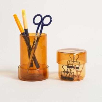 Glasdosen mit Deckel in Bernstein