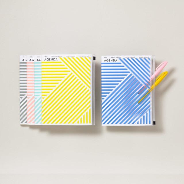 A6 Kalender 2021/22 mit Umschlagtasche geometrisch